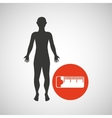 silhouette man fitness tape measure vector image