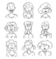 Smiling faces of girls vector image
