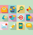 sms marketing icons set flat style vector image