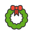 wreath christmas related style design icon vector image vector image