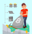young man with bag full bitcoins cryptocurrency vector image vector image