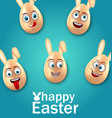 humor easter card with cheerful eggs with ears vector image