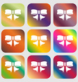 Ribbon Bow icon sign Nine buttons with bright vector image
