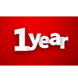 1 year paper sign vector image
