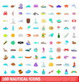 100 nautical icons set cartoon style vector image vector image