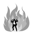 angry silhouette businessman on fire vector image vector image
