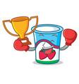 boxing winner yogurt mascot cartoon style vector image vector image