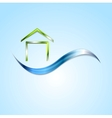 Bright house logo and wave design vector image vector image