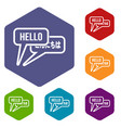 bubble speeches with greetings inside icons set vector image vector image
