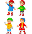 cartoon little boy wearing winter clothes vector image