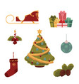 cartoon style set of christmas decorations vector image vector image