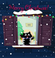 christmas greeting card of kawaii cartoon cat vector image