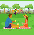 couple in park happy people at picnic vector image vector image