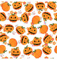 cute sweet pumpkin halloween seamless pattern vector image
