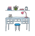 desk and shelf with books vector image