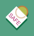 flat icon design safe condom in sticker style vector image vector image