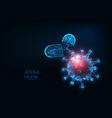 futuristic antiviral pills against coronavirus vector image vector image
