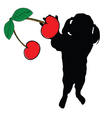 girl with cherry in hand silhouette vector image vector image