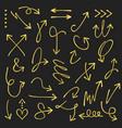 golden odd shape direction arrows icons set vector image vector image