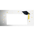 graduate cap and diploma on transparent background vector image vector image