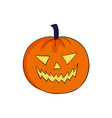 halloween pumpkin angrily smiles scary face vector image