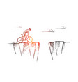 hand drawn cyclist ready to risk and jump over gap vector image vector image