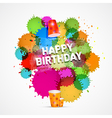 Happy Birthday Theme with Colorful Blots Splashes vector image vector image