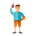 Happy hipster man with hot dog and drink vector image vector image