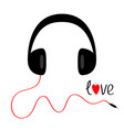 headphones with red cord and word love black vector image vector image