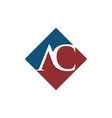 initial ac rhombus logo design vector image vector image