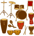 Isolated icons of drum kit and percussion vector image