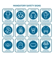 Mandatory health safety signs vector image vector image