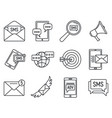 modern sms marketing icons set outline style vector image