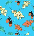 oak leaves autumn seamless pattern vector image