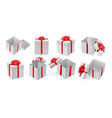 open present box with red ribbon and bow vector image