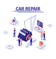 promotion banner with engine repairing process vector image vector image