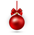 red christmas ball with ribbon and bow on white vector image vector image