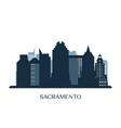 sacramento skyline monochrome silhouette vector image vector image