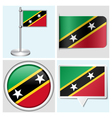 Saint Kitts and Nevis flag - sticker button vector image
