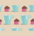 seamless pattern of chocolate cakes and cup vector image