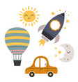 set bohemian baby icons with transport