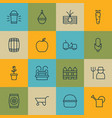 set of 16 garden icons includes barrier maize vector image vector image