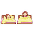 set of girl in bed vector image