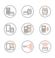 set of nfc icons featuring smartphone and bank vector image