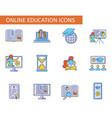 set online education symbols collection e vector image vector image