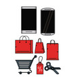 set shopping online vector image