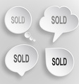 Sold White flat buttons on gray background vector image