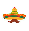 sombrero and mustache isolated on white background vector image vector image