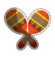 sticker colorful pair mexican maraca instrument vector image vector image