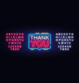 thank you neon text thank you neon sign vector image